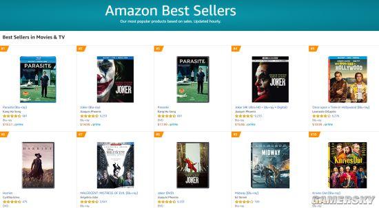 《寄生虫》登顶北美亚马逊销量榜 击败《小丑》