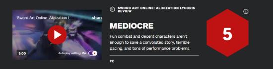 《SAO彼岸游境》IGN 5分:节奏拖累了有趣的战斗