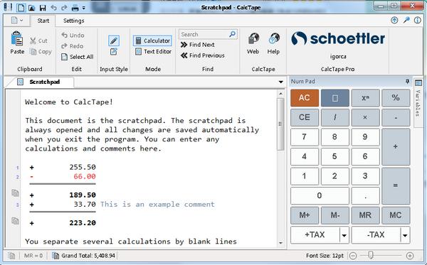 Schoettler CalcTape(桌面计算器)