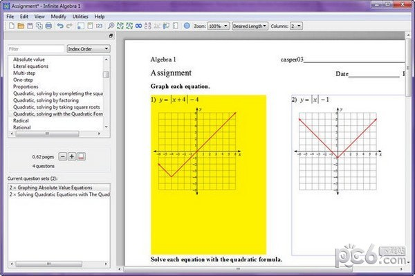 Infinite Algebra 1(代数测验生成评估软件)
