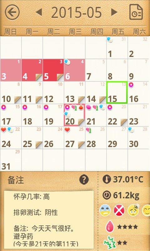 经期备孕日历软件截图2