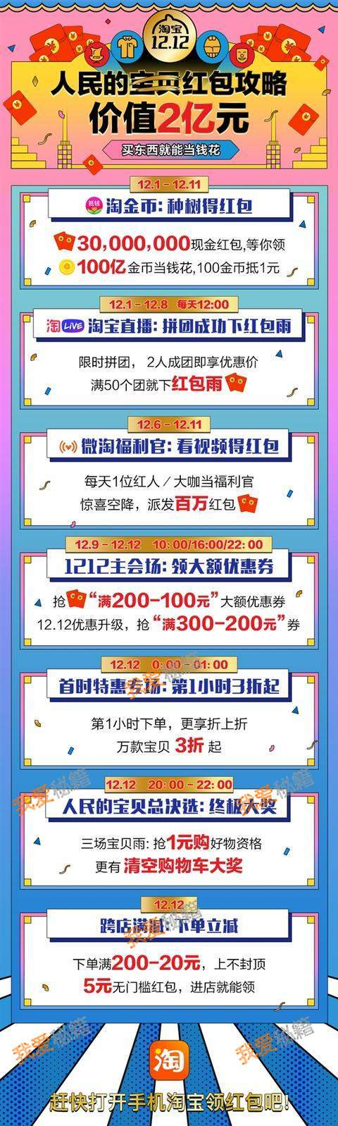 2018淘宝双12红包雨时间表分享[多图]