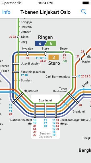 T-banen Linjekart Oslo软件截图0