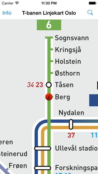 T-banen Linjekart Oslo软件截图2