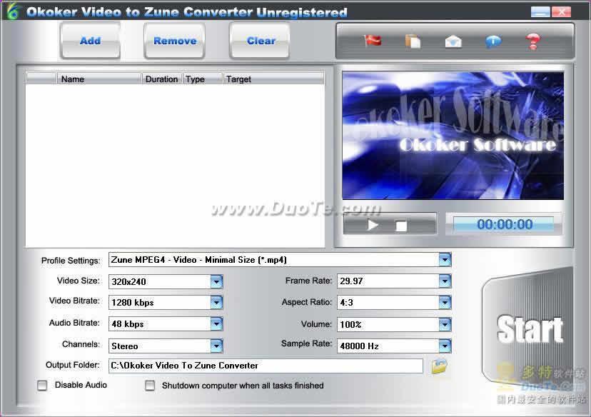 Okoker Video to Zune Converter下载
