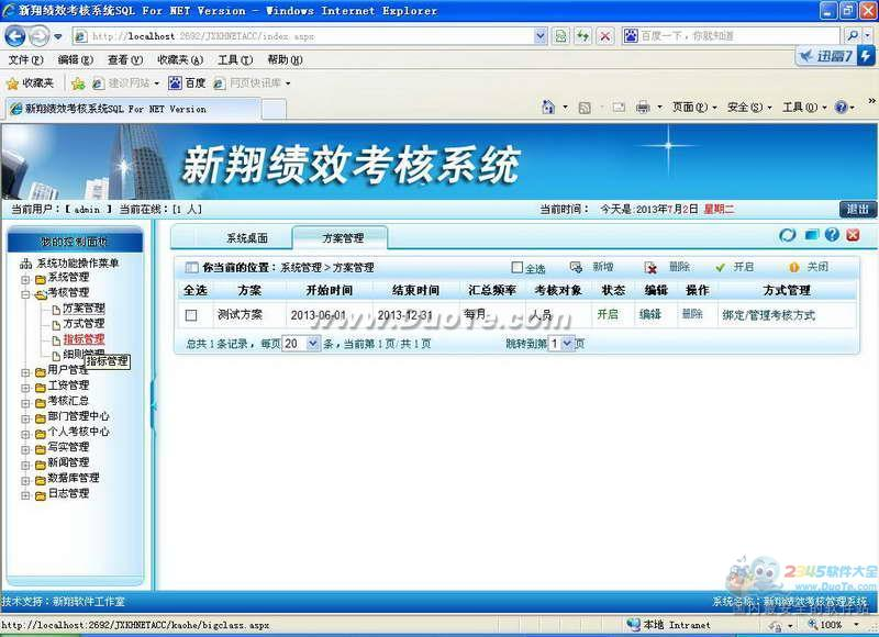 新翔绩效考核软件ASP.NET版下载