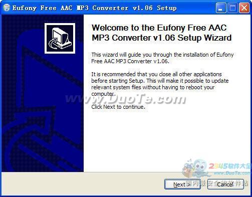aac转mp3转换器(Eufony Free AAC MP3 Converter) 1.06免费中文版下载