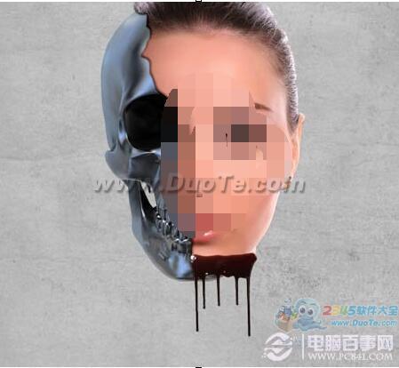 用PS打造另类的骷髅美女头像融化特效