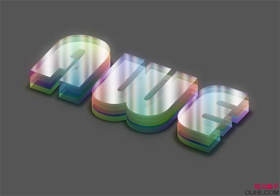 PS文字特效教程之制作七彩分层水晶艺术字