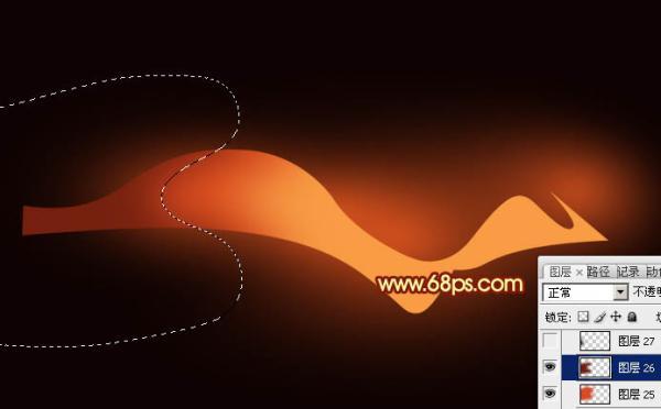 Photoshop设计打造出漂亮飘逸的红色双层光束