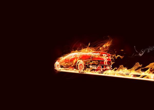 ps设计实例-打造火焰跑车