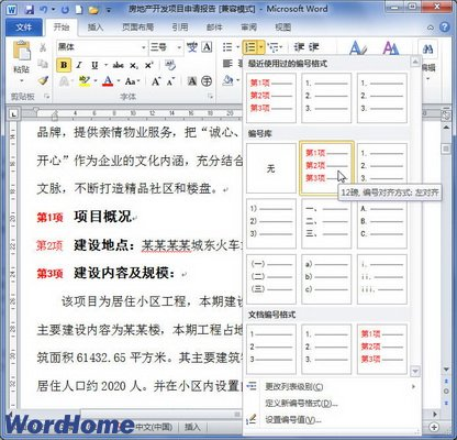 Word2010中定义编号格式