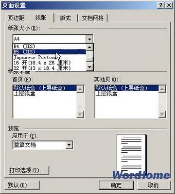 Word 2003如何设置纸张大小