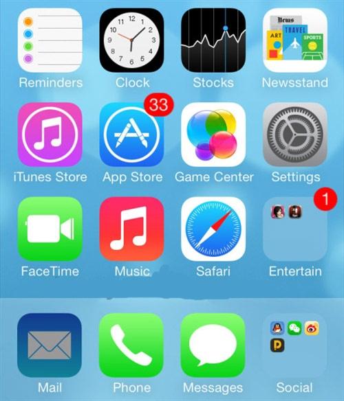 iOS7如何隐藏桌面上的应用或文件夹