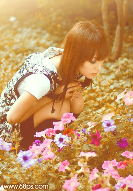 PS把花丛中的人物调成黄褐色教程