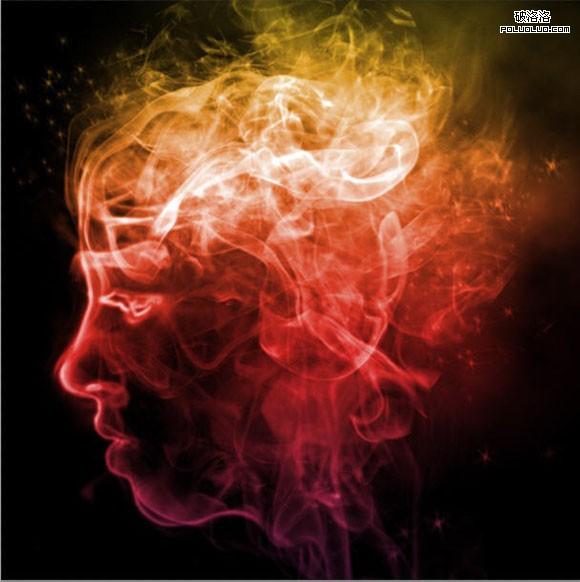 用Photoshop设计一幅幻想的彩色烟雾头像