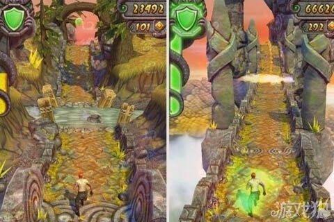 《神庙逃亡2》遇见山洞需要坐矿车滑过