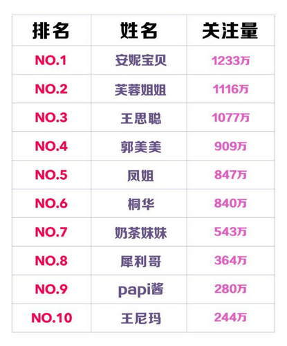 网红排行榜2016 网红第一名居然是她